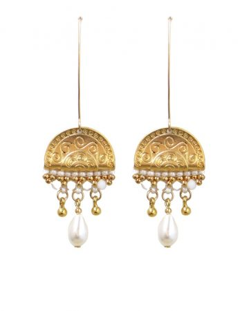 Gold-and-white-earrings